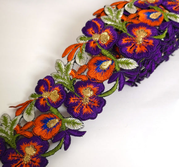 7901 Wide Purple, Orange & Blue Pansy Flower Cutwork Trim
