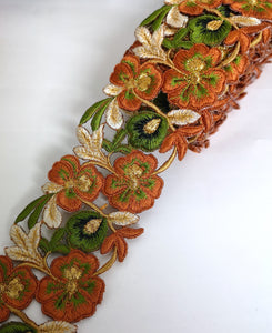 7901 Wide Rust Orange & Olive Pansy Flower Cutwork Trim