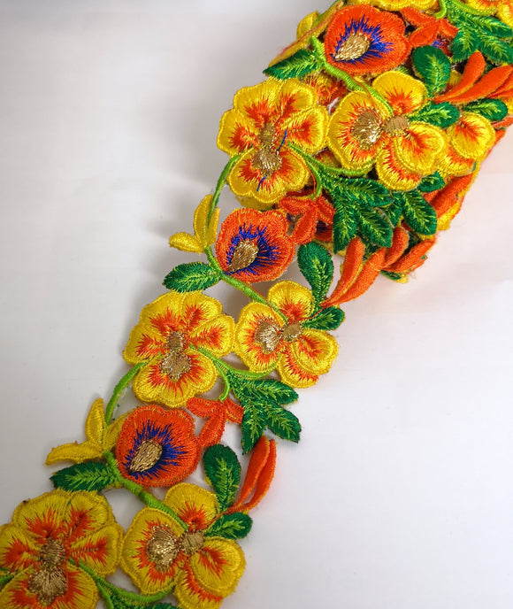 7901 Wide Yellow, Orange & Blue Pansy Flower Cutwork Trim