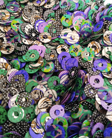 8mm Purple Green & Black Random Design Donut opaque Sequins