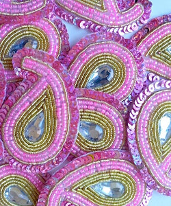 A244 Baby Pink & Gold Big Paisley Shaped Sequin Motif