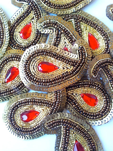 A244 Bronze, Red & Gold Big Paisley Shaped Sequin Motif