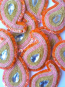 A244 Peach & Gold Big Paisley Shaped Sequin Motif