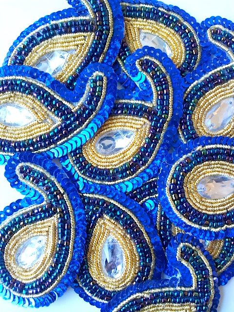 A244 Royal Blue & Gold Big Paisley Shaped Sequin Motif