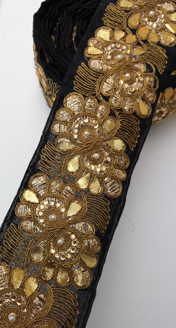 Black with Gold Leaf Flower Diamante Trim