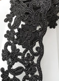 Wide Black Rhinestone Flower Cutwork Trim