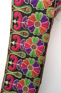Wide Black Multicoloured Flower Embroidery Trim
