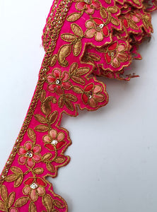 Hot Pink Flower Embroidery Scalloped Trim