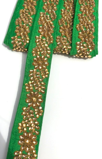 Green Indian Flower Design Diamond Stone Trim