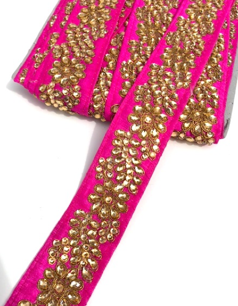 Hot Pink Indian Flower Design Diamond Stone Trim