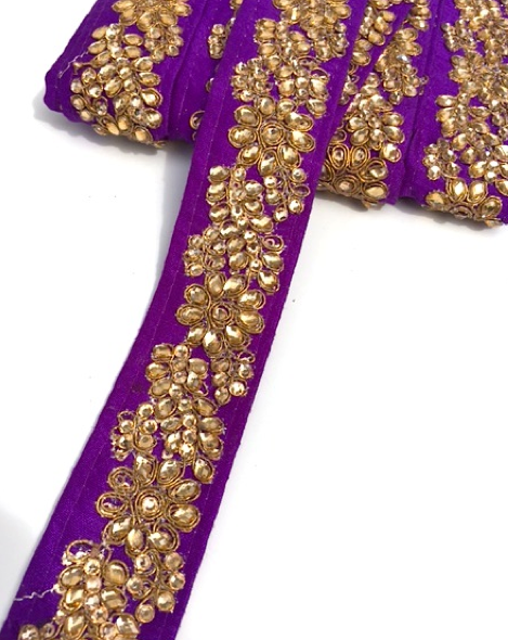 Purple Indian Flower Design Diamond Stone Trim