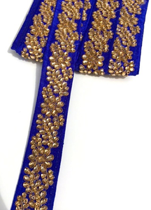 Royal Blue Indian Flower Design Diamond Stone Trim