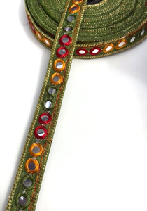 Olive Green 1 Line Shisha Mirror Work Embroidery trim