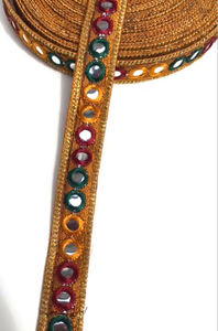 Gold 1 Line Shisha Mirror Work Embroidery trim