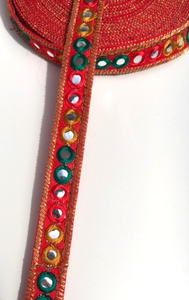 Red 1 Line Shisha Mirror Work Embroidery trim