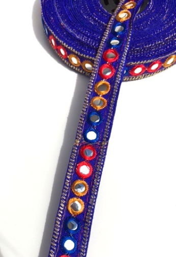 Royal Blue 1 Line Shisha Mirror Work Embroidery trim