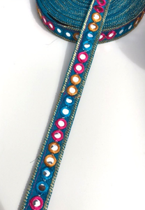 Turquoise 1 Line Shisha Mirror Work Embroidery trim