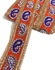 Orange & Royal Blue Indian Paisley Design with Silver Studs Trim