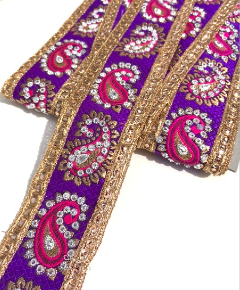 Pink & Purple Indian Paisley Design with Silver Studs Trim