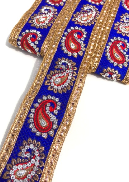 Royal Blue & Red Indian Paisley Design with Silver Studs Trim