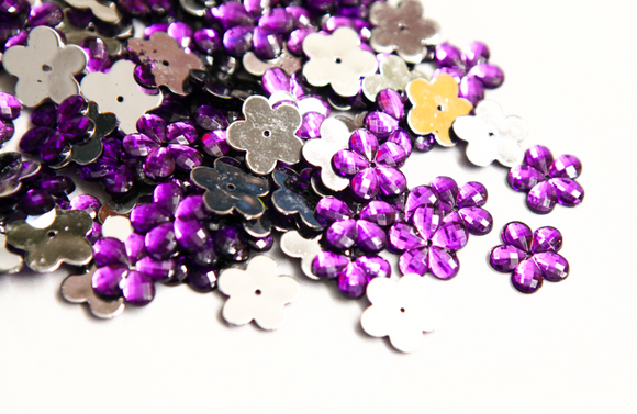 Cadbury Purple 15mm Flower Flat Back Gems
