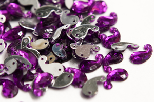 Purple 12mm Paisley Flat Back Gems