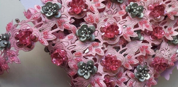 Baby Pink & Silver Rose Floral Design Beaded and Sequin Trim