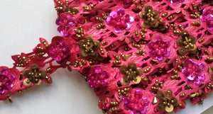 Hot Pink & Gold Rose Floral Design Beaded and Sequin Trim