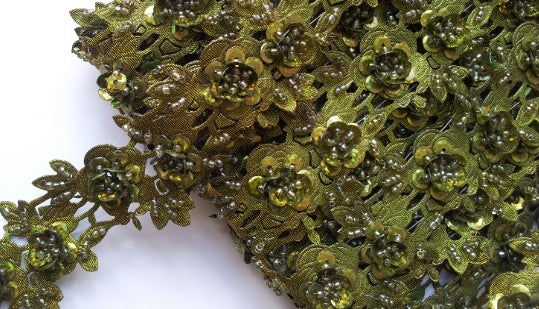 Olive Green Rose Floral Design Beaded and Sequin Trim