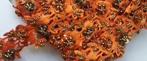 Orange & Gold Rose Floral Design Beaded and Sequin Trim