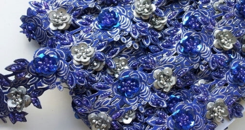 Royal Blue & Silver Rose Floral Design Beaded and Sequin Trim