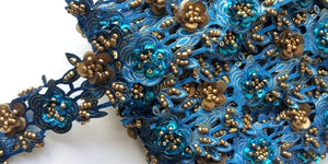 Turquoise & Gold Rose Floral Design Beaded and Sequin Trim