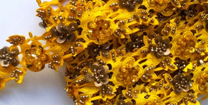 Yellow & Gold Rose Floral Design Beaded and Sequin Trim