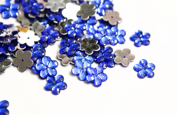 Royal Blue 15mm Flower Flat Back Gems
