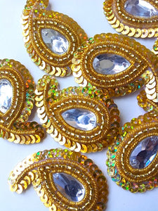 A28 Gold Small Paisley Shaped Sequin Motif