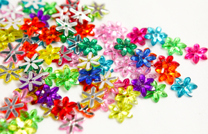 Multicoloured 10mm Chikka Flower Flat Back Gems