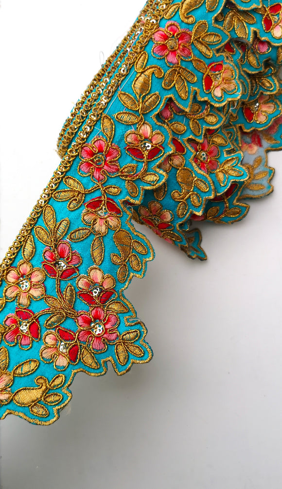 Turquoise & Hot Pink Flower Embroidery Scalloped Trim