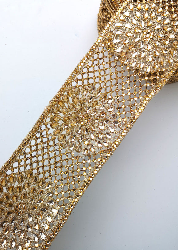 Wide Gold Diamond Criss Cross Flower Trim