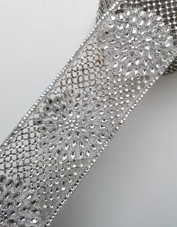 Wide Silver Diamond Criss Cross Flower Trim