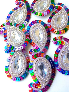 A28 Silver Multicoloured Small Paisley Shaped Sequin Motif