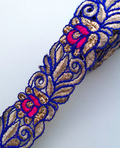 Royal Blue & Pink Thread Flower Swirl Cutwork Trim
