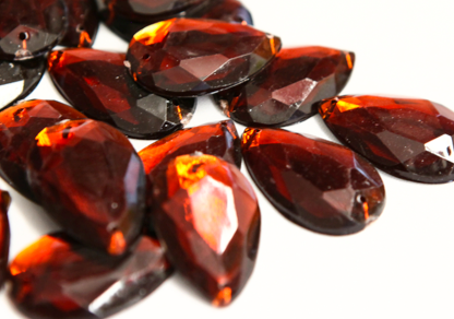 Brown 20mm x 30mm Teardrop Flat Back Gems