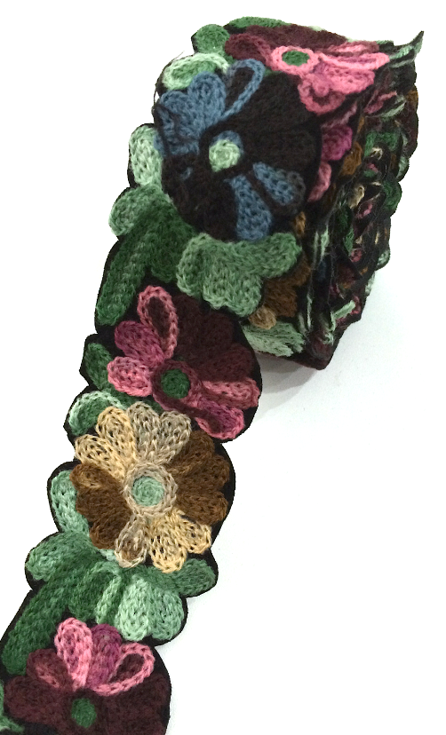 Black, Pink & Brown Crochet Style woollen Flower Embroidery trim