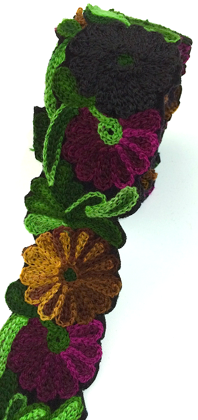 Black, Plum, Green & Brown Crochet Style woollen Flower Embroidery trim