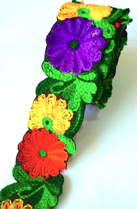 Purple, Green, Yellow & Red Crochet Style woollen Flower Embroidery trim