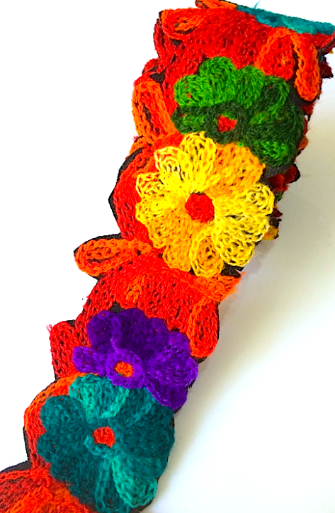 Red, Yellow, Purple & Teal Crochet Style woollen Flower Embroidery trim