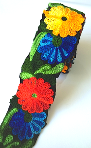 Yellow, Blue, Green & Red Crochet Style woollen Flower Embroidery trim