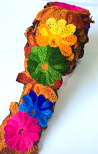 Brown, Blue, Green & Pink Crochet Style woollen Flower Embroidery trim