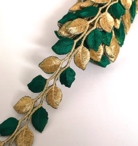 5631 Emerald Green & Gold Leaf Design Iron on Trim