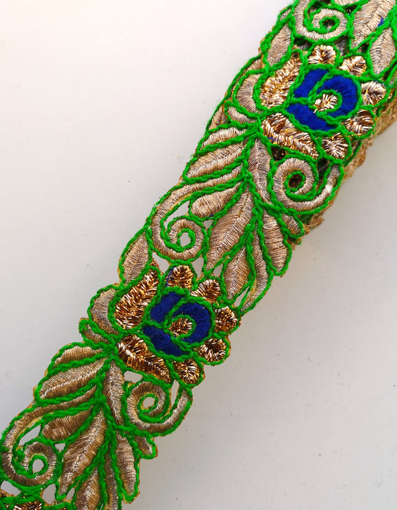 Green & Blue Thread Flower Swirl Cutwork Trim